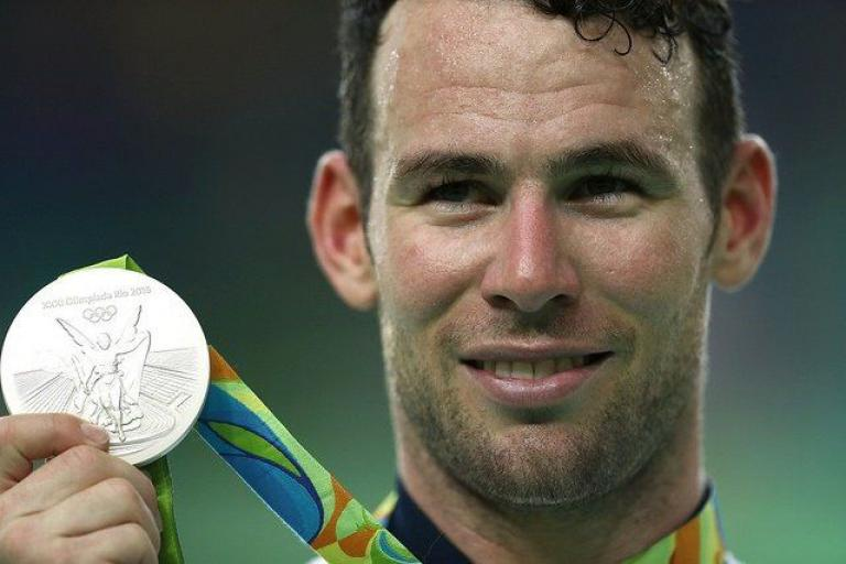 Mark Cavendish and Olympic silver medal (copyright British Cycling.org,uk).jpg