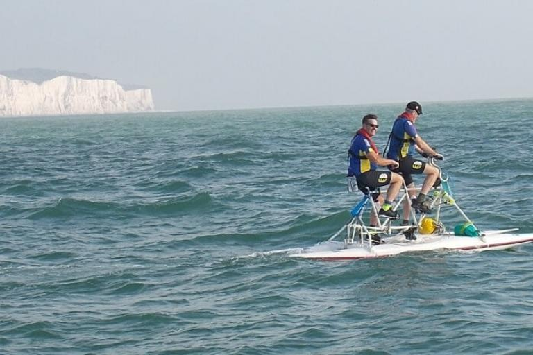 Michael Gower and Graham Earl crossing the English Channel (via Berkhamsted CC)