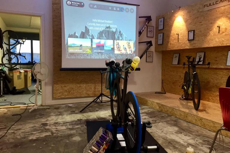 Michael Knudsen's Bkool set up for his Seven Summits challenge (source Facebook).jpg