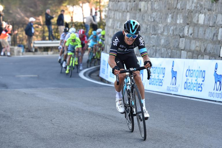Michal Kwiatkowski on the Poggio in 2016 Milan-San Remo.JPG