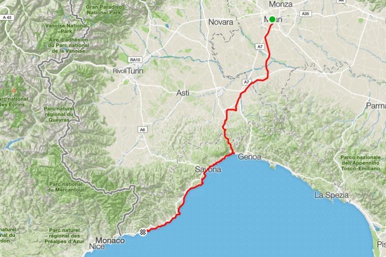 Milan - San Remo route (via Strava).jpg