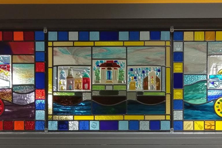 Moira Gemmill stained glass panel (via Campbeltown Grammar School on Facebook)