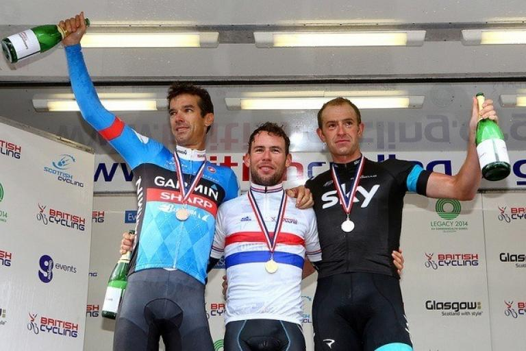 National champion Mark Cavendish on the podium with David Millar and Ian Stannard, Glasgow 2013 (copyright Britishcycling.org_.uk).jpg