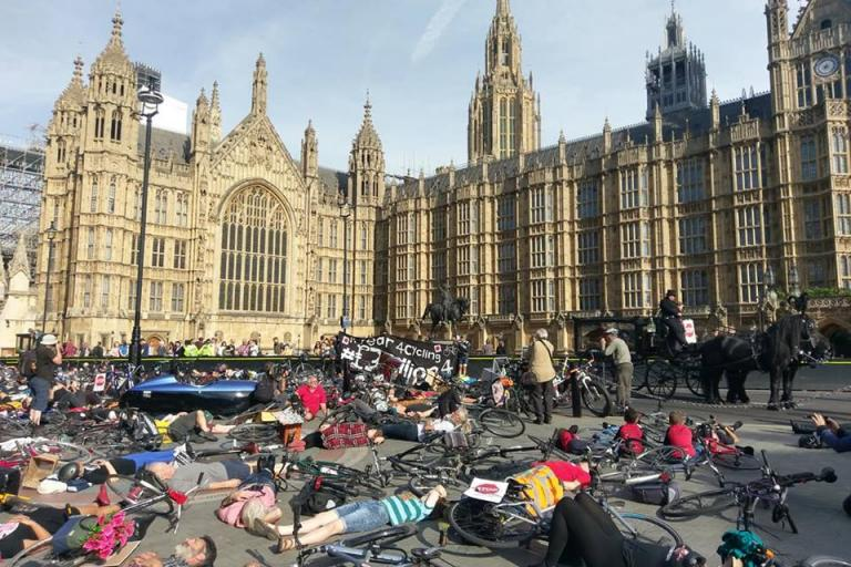 National Funeral for the Unknwon Cyclist and First Pedal on UK Parliament (via Alex Raha on Facebook)