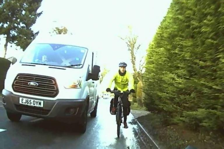 Near Miss of the Day van and cyclist.JPG