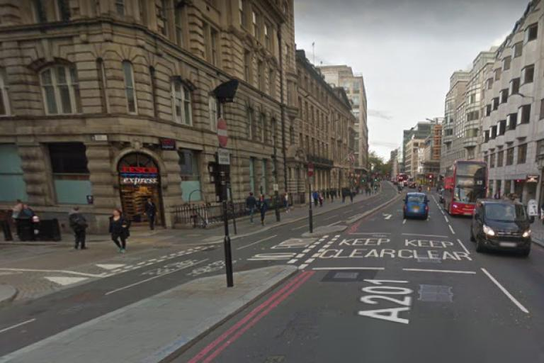 New Bridge Street junction with Tudor Street (via GoodleStreetView).PNG