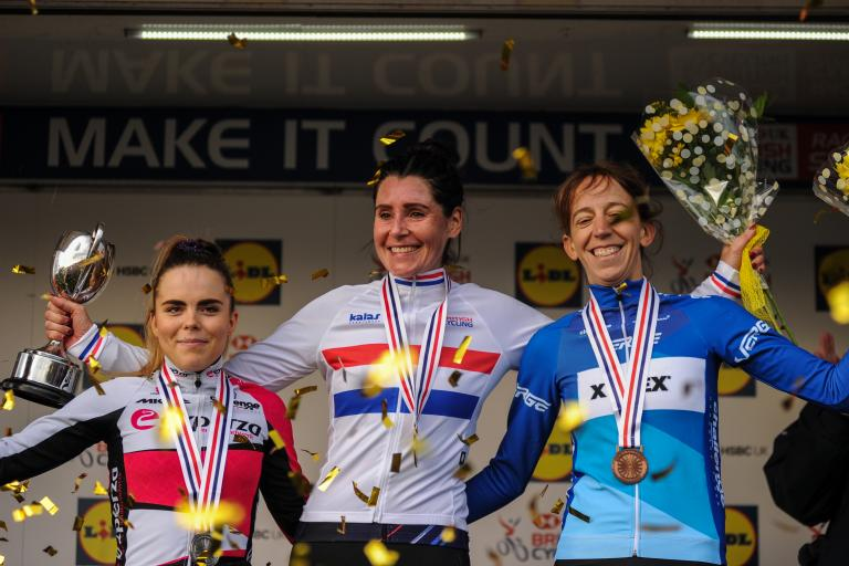 Nikki Brammeier heads the women's senior podium at the 2018 national cyclo-cross championships ((picture credit 5311 Media))