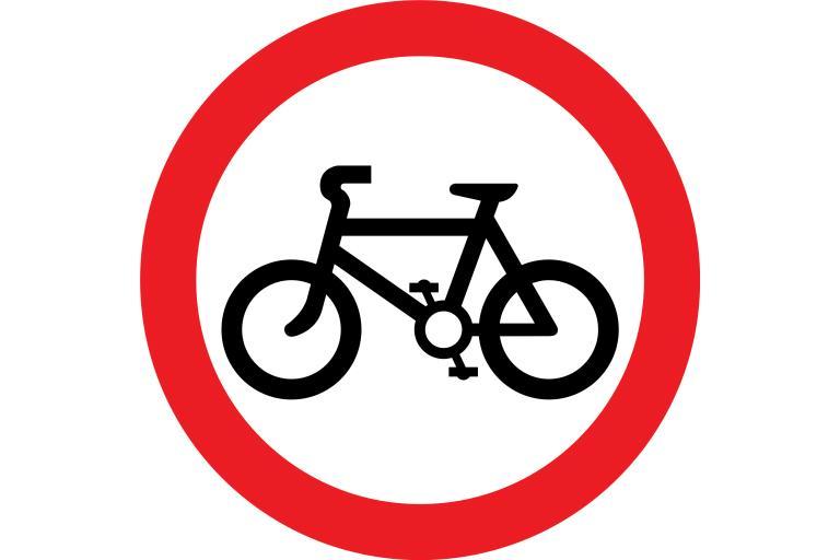No Cycling sign 3x2