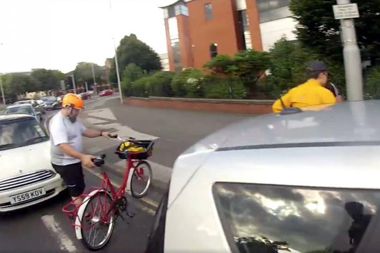 Nottingham Critical Mass cyclists gather to aid motorist