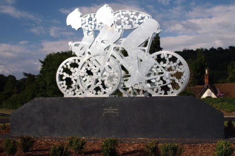 Olympic road race sculpture on A24 at Dorking (copyright Simon MacMichael.jpg