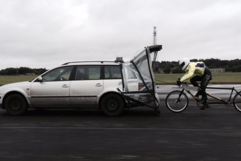 Operation Pacemaker performing speed trial in the rain at 90mph (via Twitter).jpg