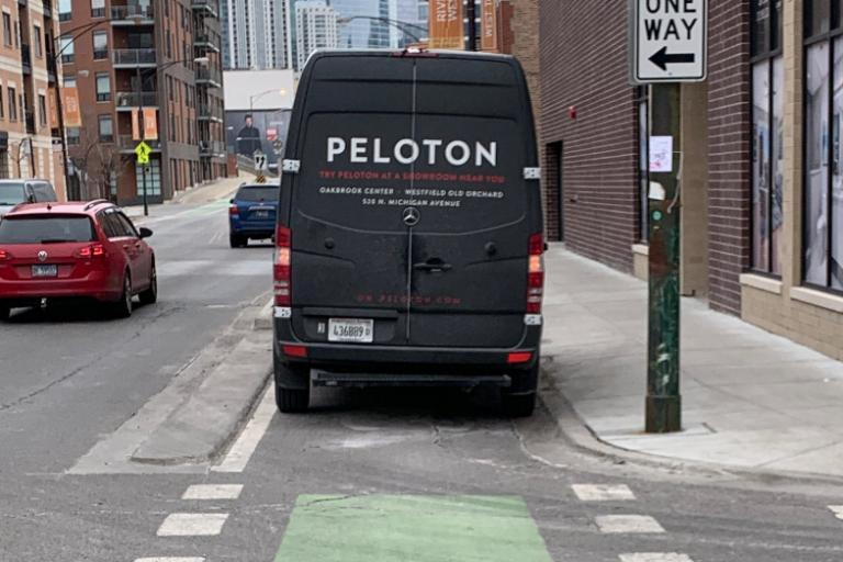 peloton van blocking bike lane - credit sean conway on twitter