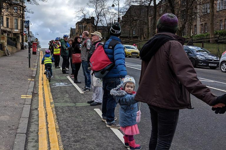 People protected bike lane in Glasgow (via GoBike on Twitter)