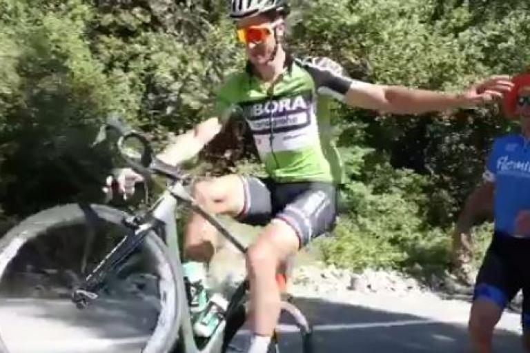 Peter Sagan Tour of California 2017 wheelie (mikeisintyler Twitter video still).JPG