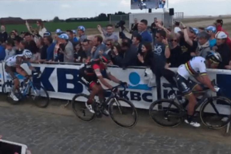 Peter Sagan Tour of Flanders 2017 fan's jacket (Seal Jobs Twitter video still).PNG