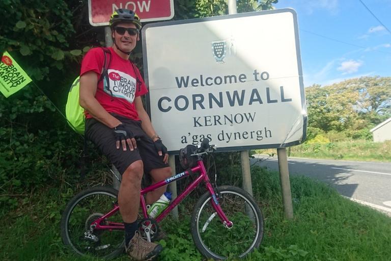 Peter Williams on daughter Ellie's bike (via Just Giving)