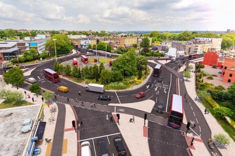 Planned Lea Bridge Road roundabout (TfL)