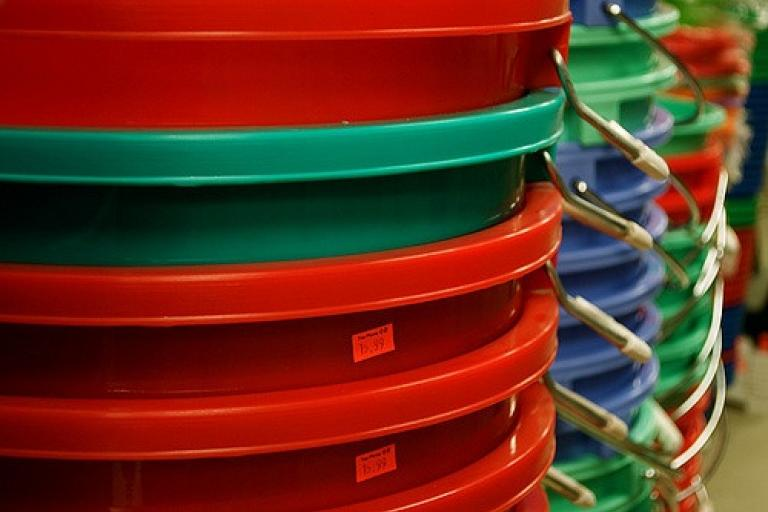 Plastic buckets (CC licensed by Eric L via Flickr).jpg