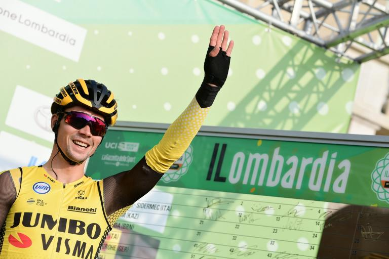 Primoz Roglic at start of 2019 il Lombardia (picture RCS Sport, LaPresse)