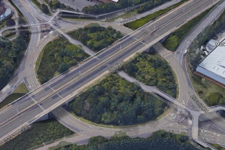 Rhubarb Bridge junction in Peterborough (Google Maps).JPG