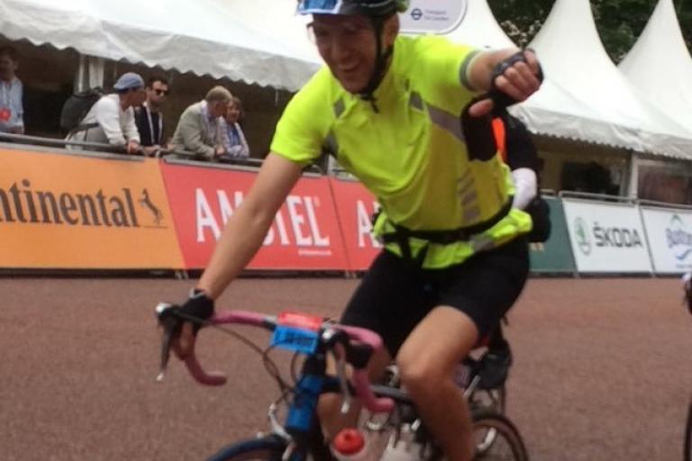 Richard finishing RideLondon for Lyme Disease Action