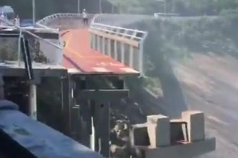 Rio Cycleway collapse (picture Eric Poseidon Facebook video still).JPG