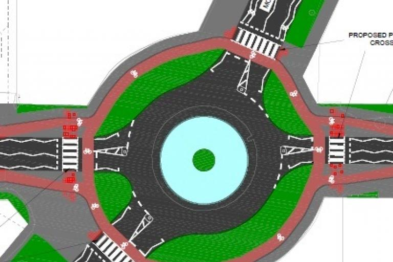 Roundabout_drawing Queen Edith's Way