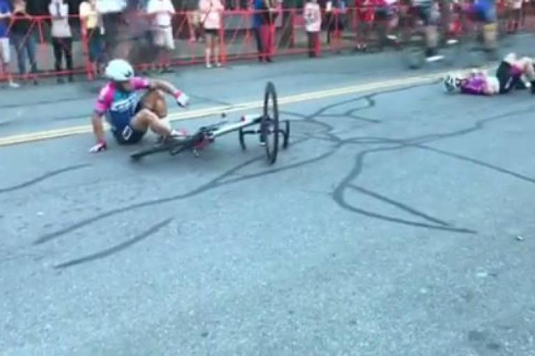 Sam Rosenholtz (left) after crash at Gran Prix of Beverly (Instagram video still).JPG