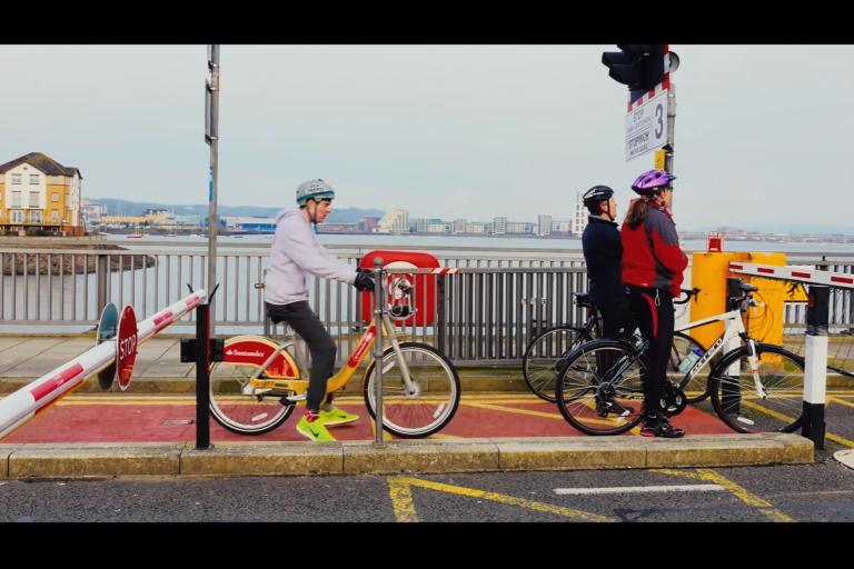 Still from Perspective Pictures Boris Bike Cardiff-London challenge