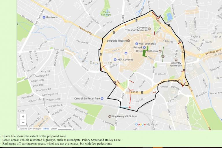 Extent of proposed Coventry PSPO banning cycling (image courtesy of Coventry Cyclist)