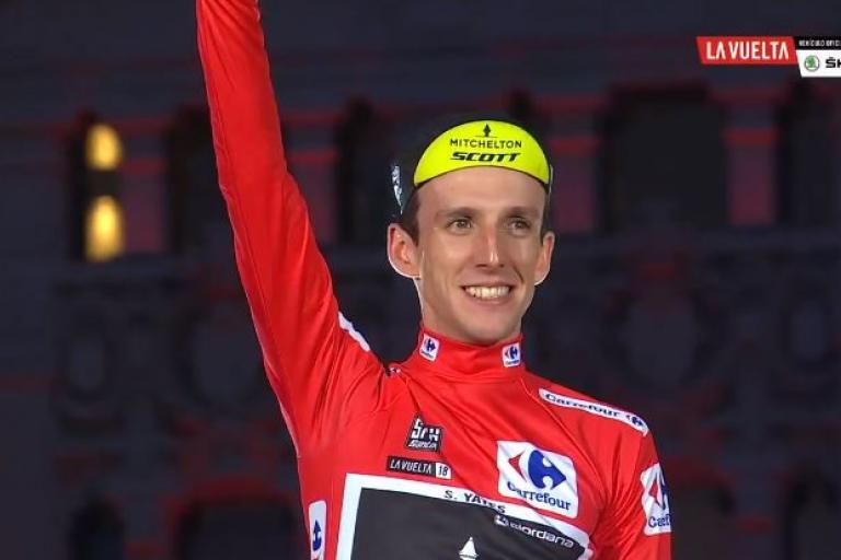 Simon Yates on Vuelta 2018 final podium.JPG