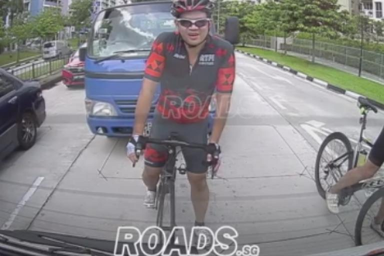 Singapore cyclist and lorry (video still via ROADS.sg on Facebook).PNG