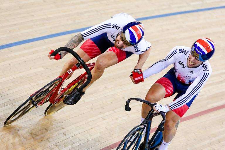 Sir Bradley Wiggins and Mark Cavendish in the madison at the 2016 UCI Track Cycling World Championships (picture credit Charlie Forgham-Bailey SWpix.com)