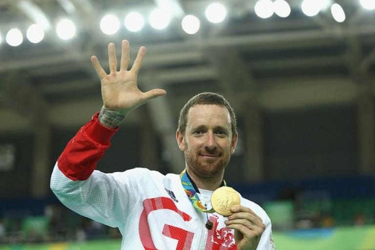 Sir Bradley Wiggins with his fifth Olympic gold medal (copyright Britishcycling.org_.uk).jpg