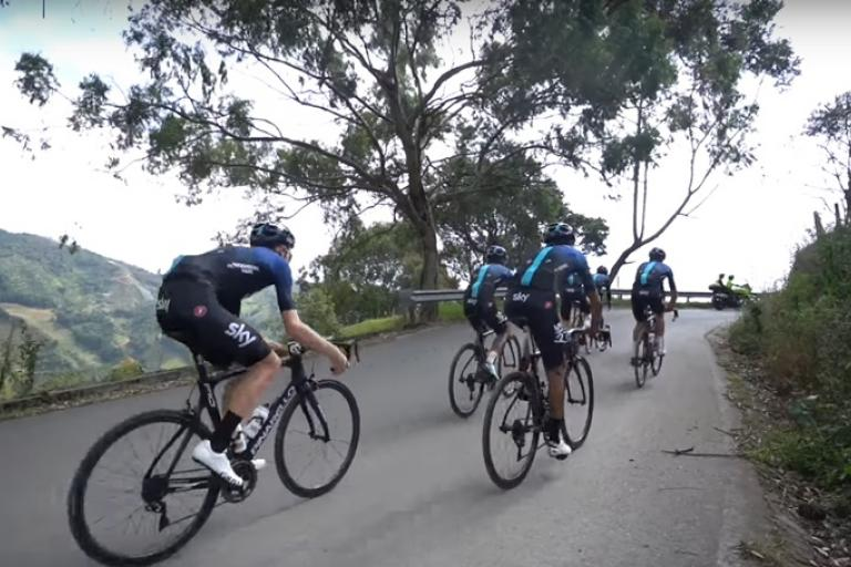 Team Sky in Colombia (via YouTube)