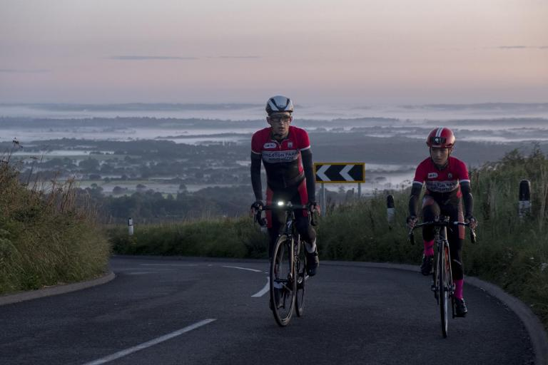 Tom Pughe-Morgan and Lukas Nerurkar on Ditchling Beacon (picture courtesy Proper Cycling and Coffee).jpg