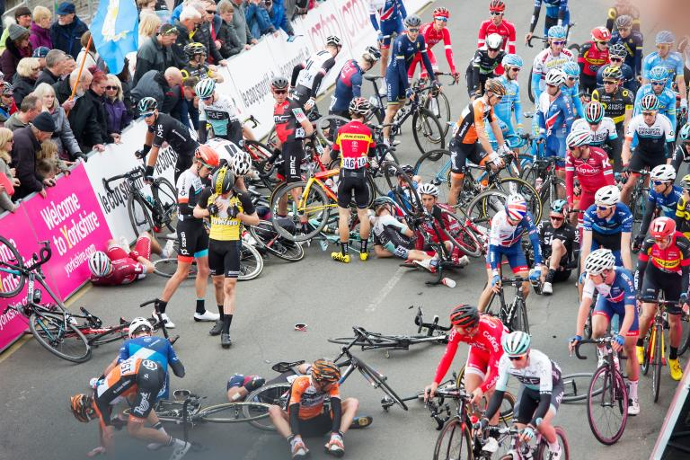 Tour de Yorkshire 2017 crash in Scarborough (copyright Simon Wilkinson, SWpix.com)