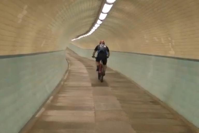 Tyne Cyclist Tunnel (via YouTube)