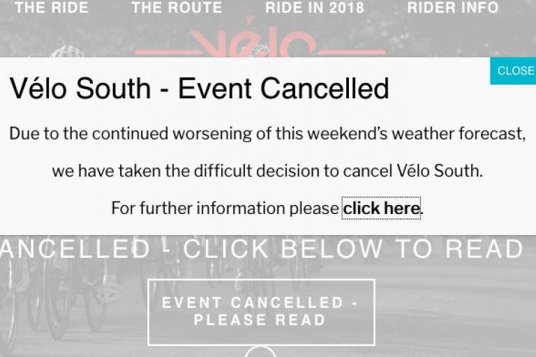 Velo South homepage cancellation