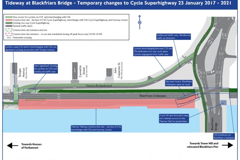 Victoria Embankment cycle superhighway diversion (TfL).png