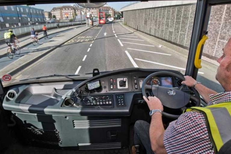 View from lorry cab (picture via LCC Lorry Safety website)