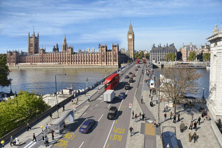 Westminster Bridge cycle route amended design with zebra crossings on bus stop bypasses