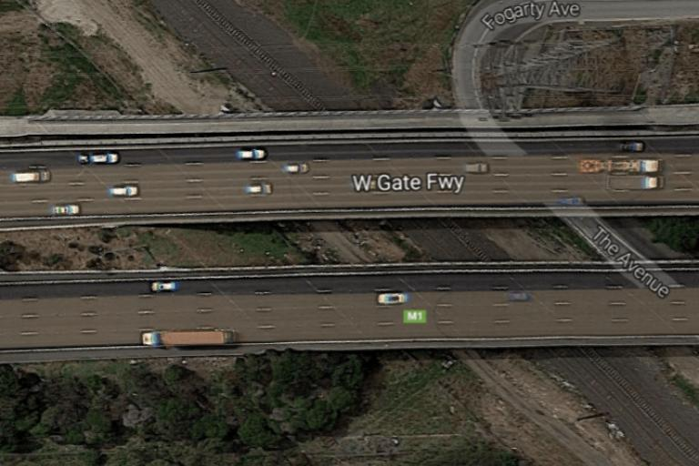 West Gate Freeway with Federation Trail bridge running alongside at top (souurce Google Maps).PNG