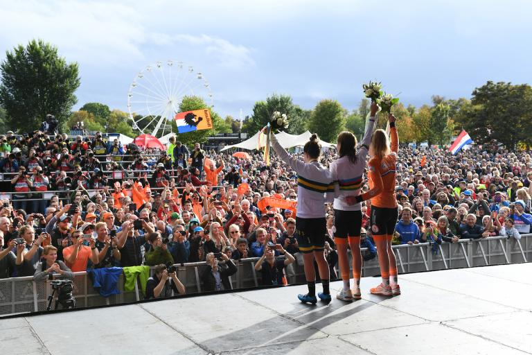 Women's elite road race podium at The Stray Fan Zone, Harrogate, Yorkshire 2019 (picture credit SWPix.com).JPG