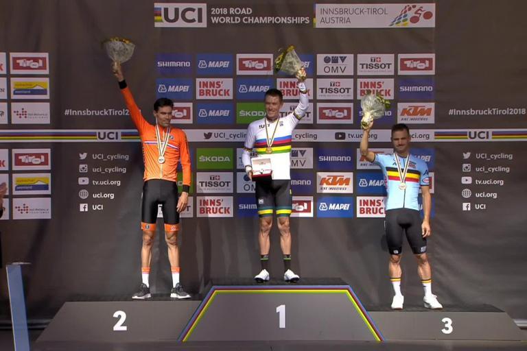 World Championship Time Trial podium 2018 (via UCI on Twitter)