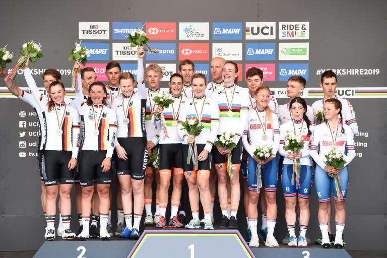 Yorkshire 2019 team time trial mixed relay podium (picture credit SWPix.com)